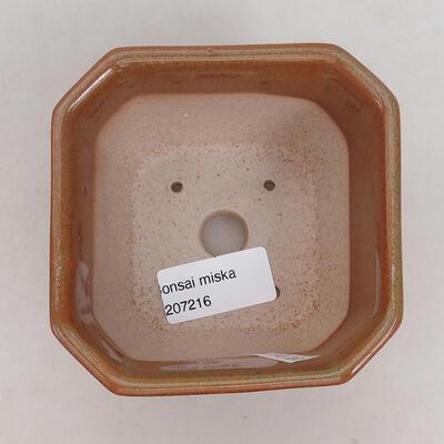 Ceramic bonsai bowl 10 x 10 x 6 cm, brown-rusty color - 3