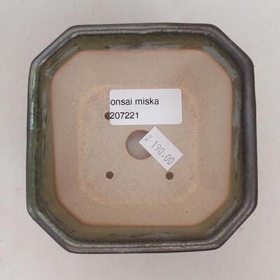 Ceramic bonsai bowl 10 x 10 x 6 cm, color gray-green - 3