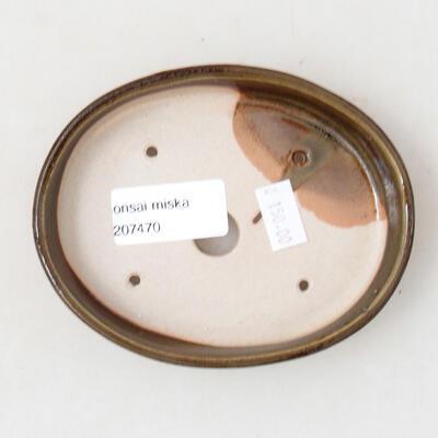 Ceramic bonsai bowl 11.5 x 9.5 x 2.5 cm, color green - 3