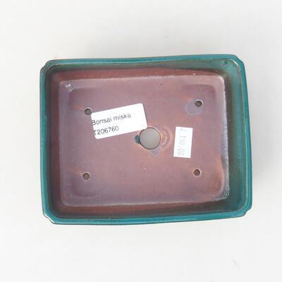 Ceramic bonsai bowl 14 x 10.5 x 3.5 cm, color green - 3
