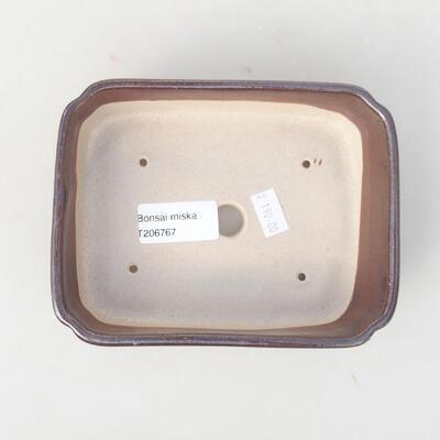 Ceramic bonsai bowl 15 x 11.5 x 4 cm, brown color - 3