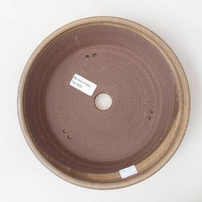 Ceramic bonsai bowl 23.5 x 23.5 x 5 cm, brown color - 3