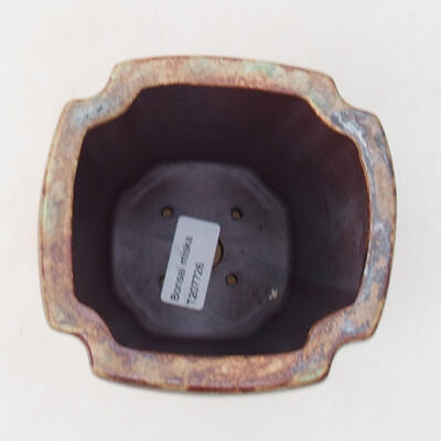 Ceramic bonsai bowl 10 x 10 x 15.5 cm, color brown-green - 3