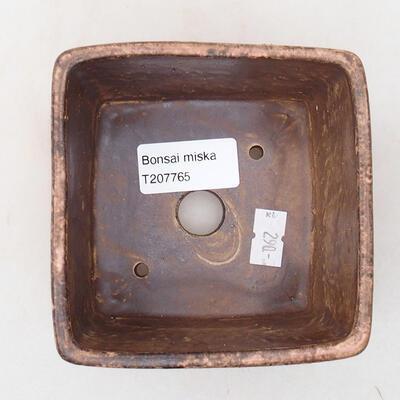 Ceramic bonsai bowl 10 x 10 x 7 cm, color brown-pink - 3