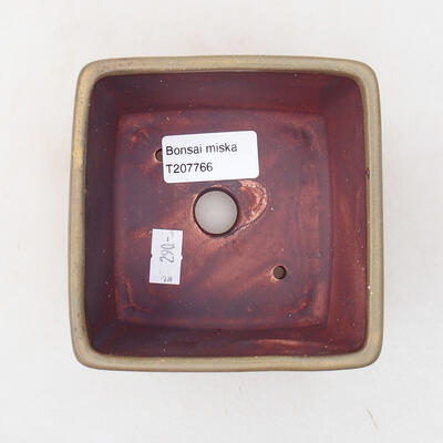 Ceramic bonsai bowl 10 x 10 x 7 cm, color brown - 3