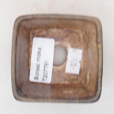 Ceramic bonsai bowl 6.5 x 6.5 x 5 cm, brown color - 3