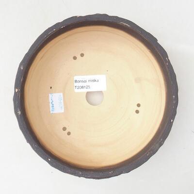 Ceramic bonsai bowl 16.5 x 16.5 x 6.5 cm, cracked red color - 3