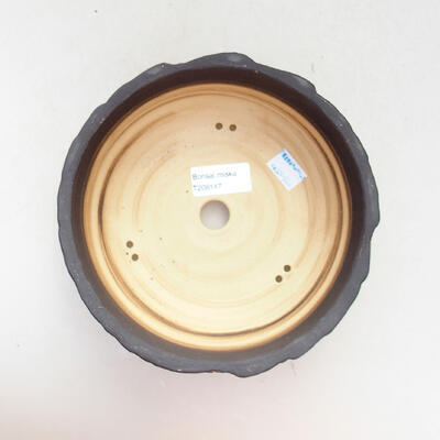 Ceramic bonsai bowl 17.5 x 17.5 x 7 cm, gray-orange color - 3