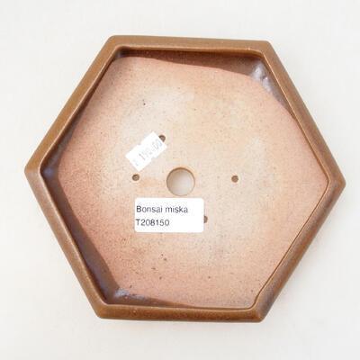 Ceramic bonsai bowl 13 x 15 x 3.5 cm, color brown - 3