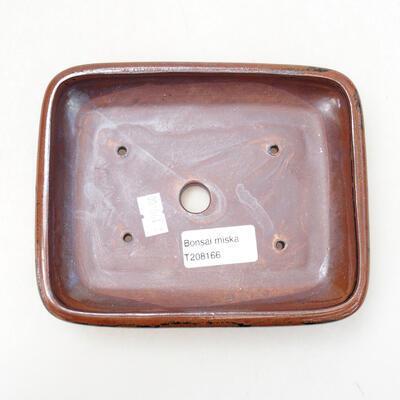 Ceramic bonsai bowl 15 x 11.5 x 3.5 cm, brown-black color - 3