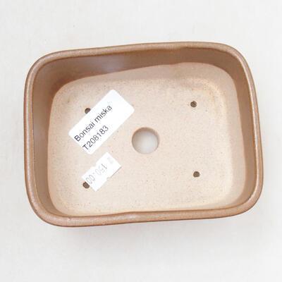 Ceramic bonsai bowl 11.5 x 8.5 x 5 cm, brown color - 3