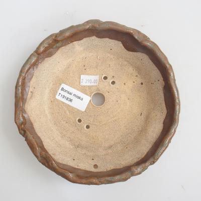 Ceramic bonsai bowl 17 x 17 x 4 cm, brown color - 3