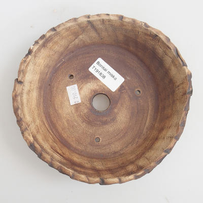 Ceramic bonsai bowl 17 x 17 x 4,5 cm, brown-green color - 3