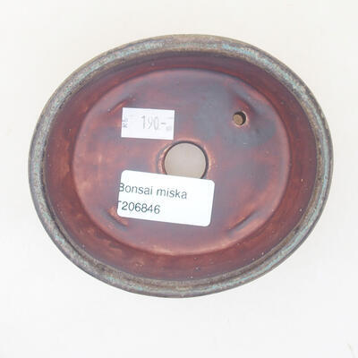 Ceramic bonsai bowl 10.5 x 9 x 4.5 cm, color brown-green - 3