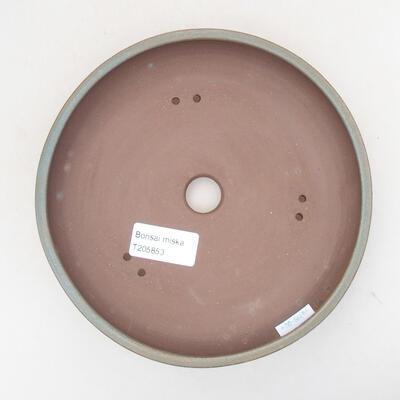 Ceramic bonsai bowl 17.5 x 17.5 x 4.5 cm, color green - 3