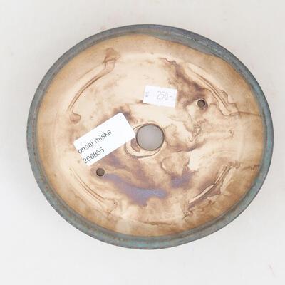 Ceramic bonsai bowl 14 x 13 x 3.5 cm, color brown-green - 3