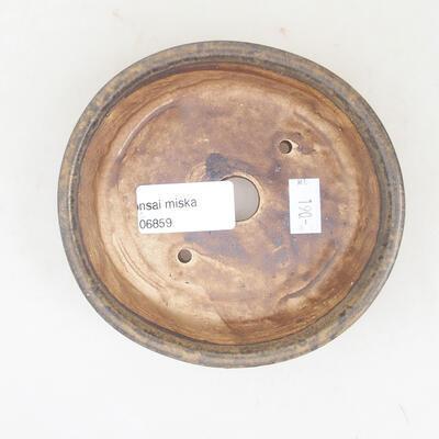 Ceramic bonsai bowl 12 x 11 x 3 cm, brown color - 3