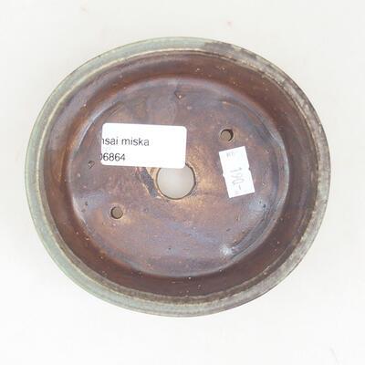 Ceramic bonsai bowl 12 x 11 x 3 cm, color brown-green - 3