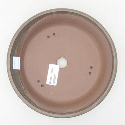 Ceramic bonsai bowl 18.5 x 18.5 x 3.5 cm, brown color - 3