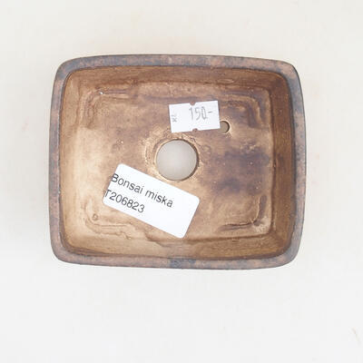 Ceramic bonsai bowl 9.5 x 8 x 3.5 cm, brown color - 3