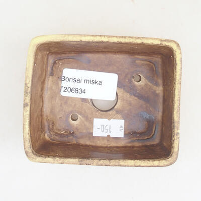 Ceramic bonsai bowl 9.5 x 8 x 3.5 cm, color yellow - 3