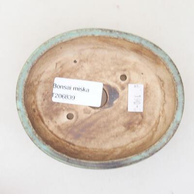 Ceramic bonsai bowl 12 x 9.5 x 3.5 cm, color green - 3