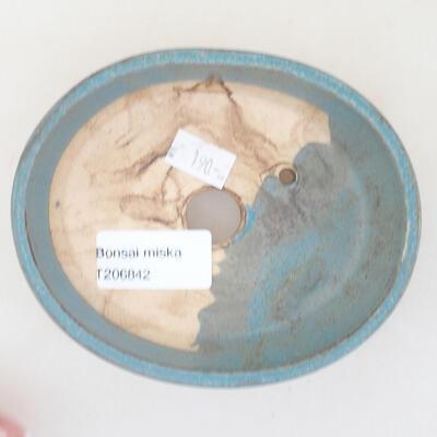 Ceramic bonsai bowl 12 x 9.5 x 3.5 cm, color blue - 3