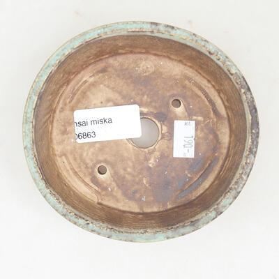 Ceramic bonsai bowl 12 x 11 x 3 cm, color green - 3