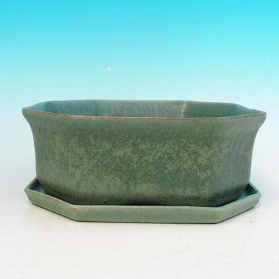 Bonsai bowl + tray H 13 - bowl11,5 x 11,5 x 4,5 cm, tray 11,5 x 11,5 x 1 cm - 4