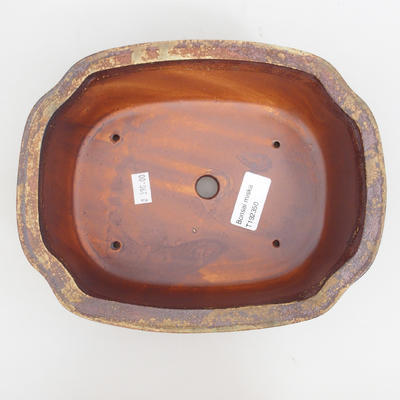 Ceramic bonsai bowl 18 x 13,5 x 4,5 cm, brown-pink color - 4